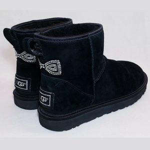 UGG Black Boots, Classic Mini Crystal Bow, Size 8